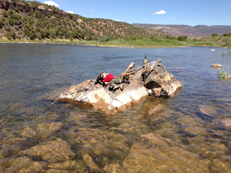 My partner got tired from riding on my shoulders as we hiked along the green river and slayed the fish. If you have to take a nap, make it in a great place!